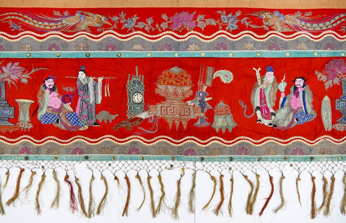 Chinese Silk Precious Ornaments Banner 3'x14'.