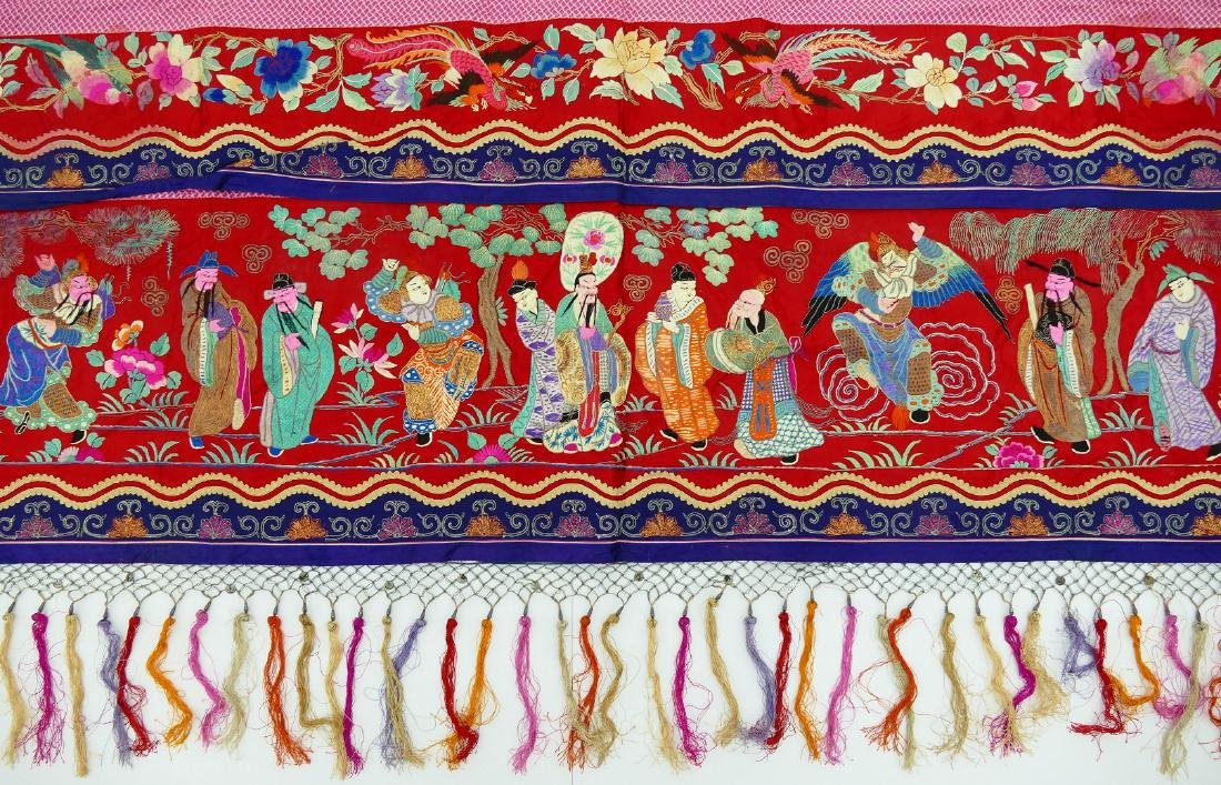 Chinese Polychrome Silk Embroidered Banner 3'x14'.