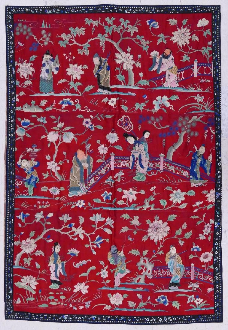 Chinese Silk Embroidered Hanging Panel 72.5''x50''.