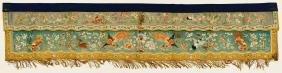 Chinese Gold Thread Silk Banner 20''x92''. Light blue