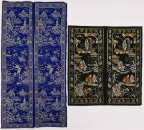 2 Pairs Chinese Silk Brocade Panels. Includes a cobalt