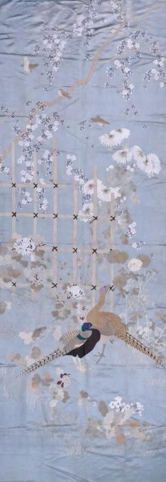 Large Japanese Silk Embroidered Pheasant Hanging Panel