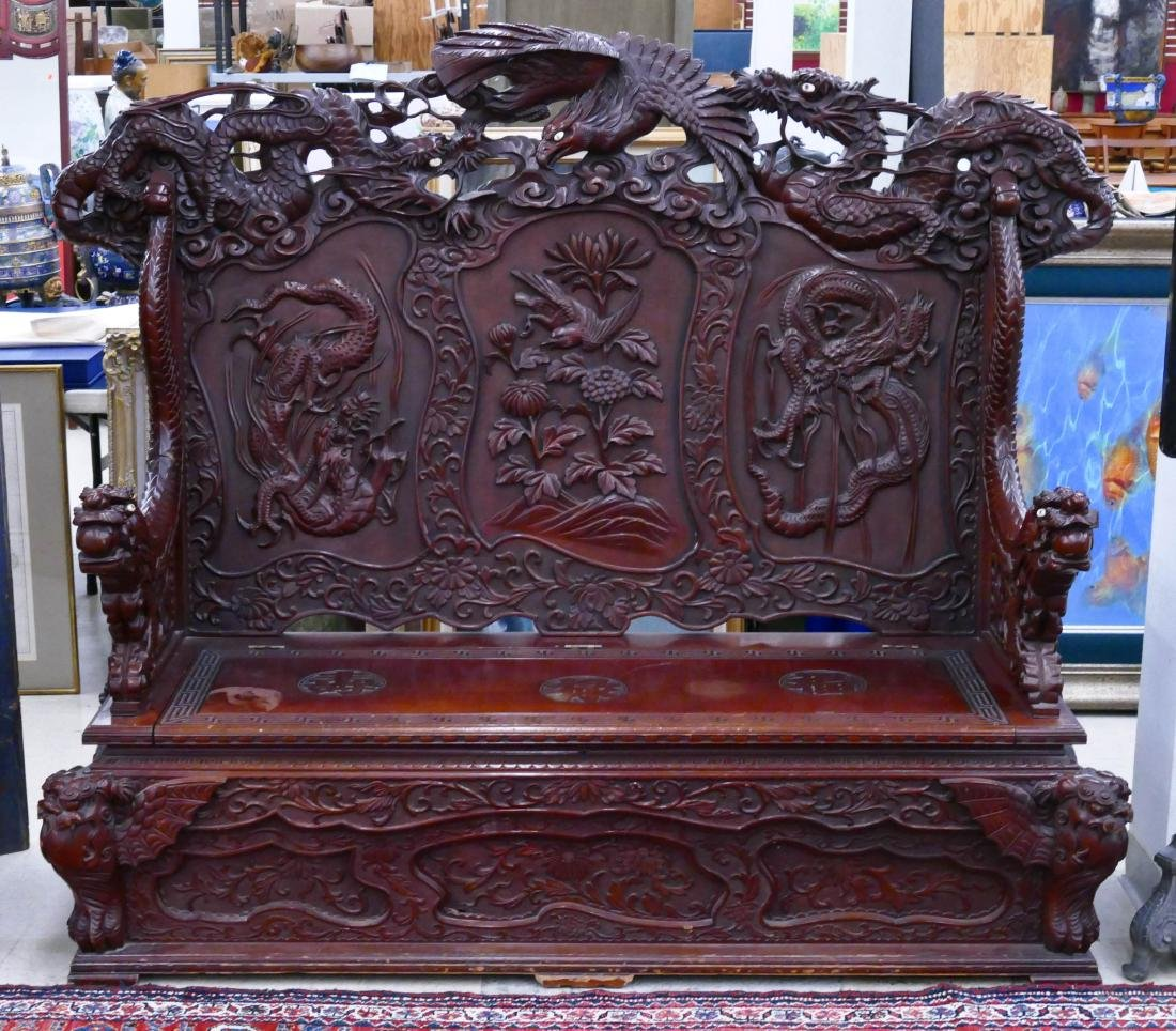 Impressive Japanese Carved Dragon Bench 62''x72''x29''.