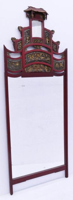 Impressive Chinese Carved Temple Mirror 89''x34''.