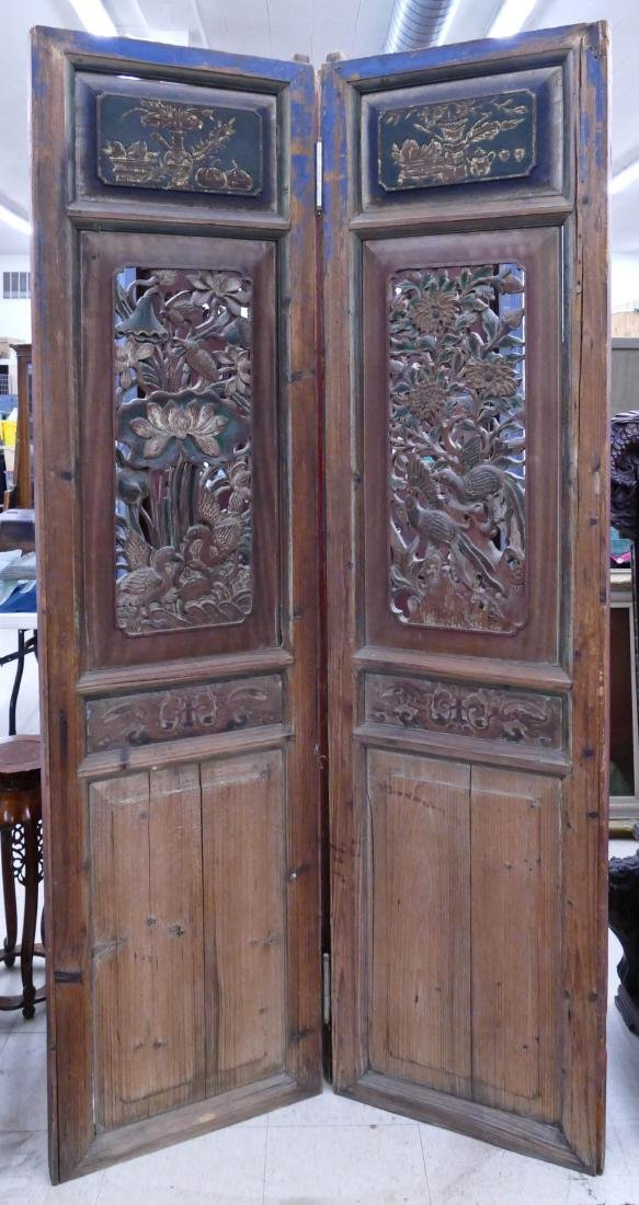 Pair Chinese Carved Temple Doors 85''x44''. Pierced