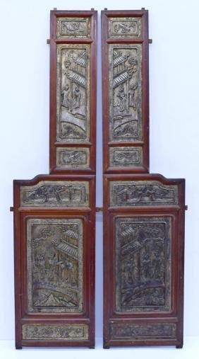 Pair Chinese Carved Temple Panels 66''x17'' Each.