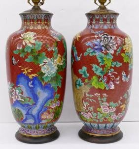 Pair Large Chinese Cloisonne Vase Table Lamps 36''x9''