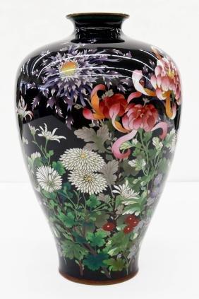 A Large Japanese Cloisonne Floral Vase 14.25''x9.25''.