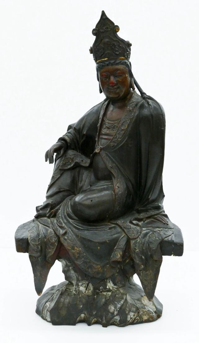 Large Chinese Seated Guanyin Lacquered Wood