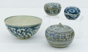 4pc Southeast Asian Ming Blue & White Porcelain.