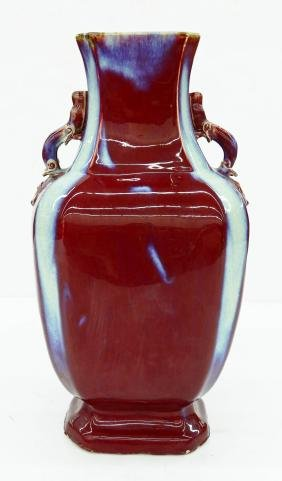 Large Chinese Flambe Porcelain Baluster Vase