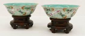 Pair Of Fine Chinese Daoguang Famille Rose Bowls On