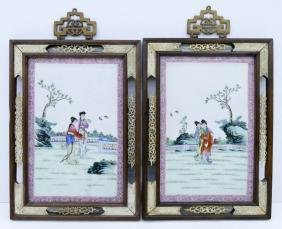 Pair Chinese Famille Rose Porcelain Plaques Framed