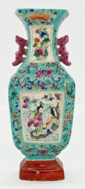 Chinese Famille Rose Wall Vase 9.5''x3.5''. Polychrome