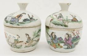 Pair Chinese Porcelain Covered Dishes 5''x4'' each.