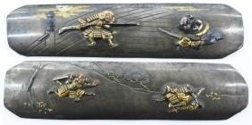 Pair of Japanese Shakudo Dagger Handles 1''x4.5'' Each.