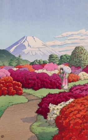 Kawase Hasui ''The Azalea Garden at The Hakone Villa of