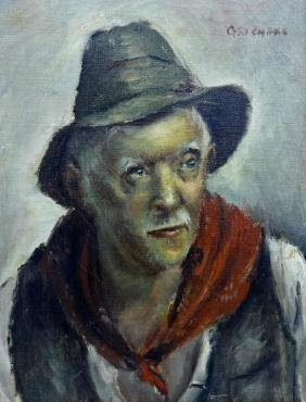 George Chann (1913-1995 Chinese) Portrait of a Man Oil