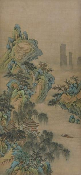 Fine Chinese Mountainous Landscape Scroll Painting