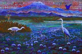 Alfredo Arreguin (b.1935 Washington) ''Heron's Lake''