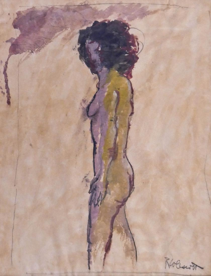 Robert Colescott (1925-2009 Oregon) Standing Nude Mixed
