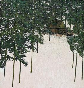 Art Hansen (b.1929 Washington) Northwest Cabin Scene