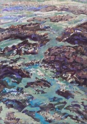Windsor Utley (1920-1989 Washington) Seascape Tempera
