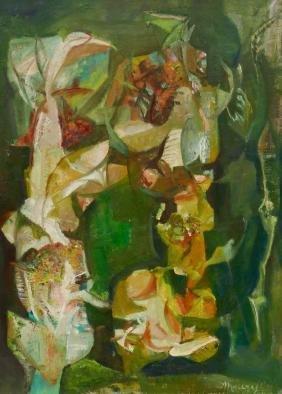 Maury Haseltine (1925-1998 Oregon) ''Growth'' 1955 Oil