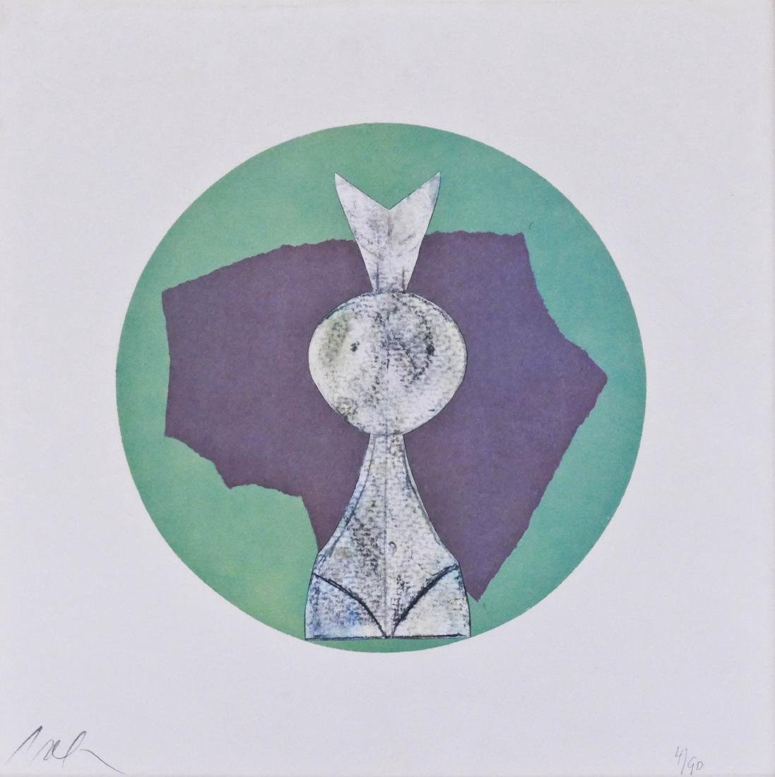 Jean Arp Untitled Figure Lithograph 13.5''x13.5''.