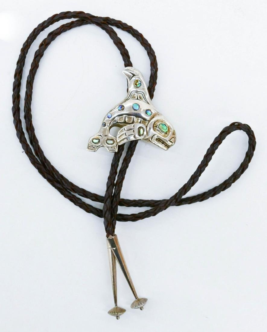 Patty Fawn Killer Whale Sterling Bolo Tie 2''x2''. - 2