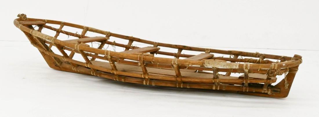 Old Unangax Eskimo Nigaalax Canoe Boat Model - 4