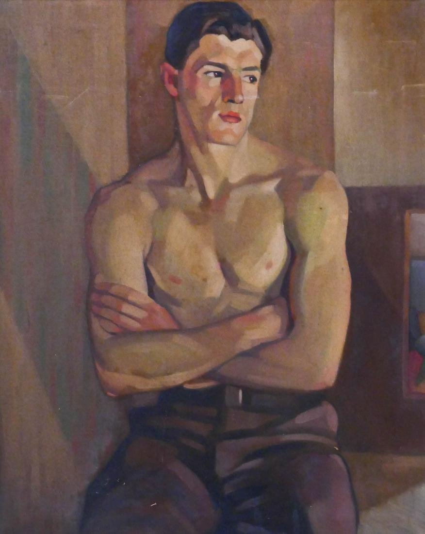 Bernard Nestor (b.1903 Washington) ''Boy #1'' Oil on