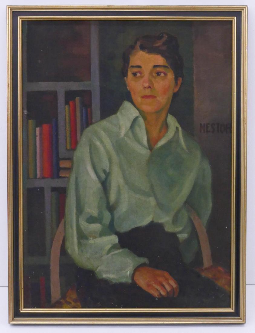 Bernard Nestor (b.1903 Washington) Female Portrait Oil - 2