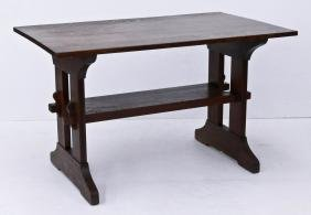 Gustav Stickley Oak Trestle Table 29''x48''x29.5''.