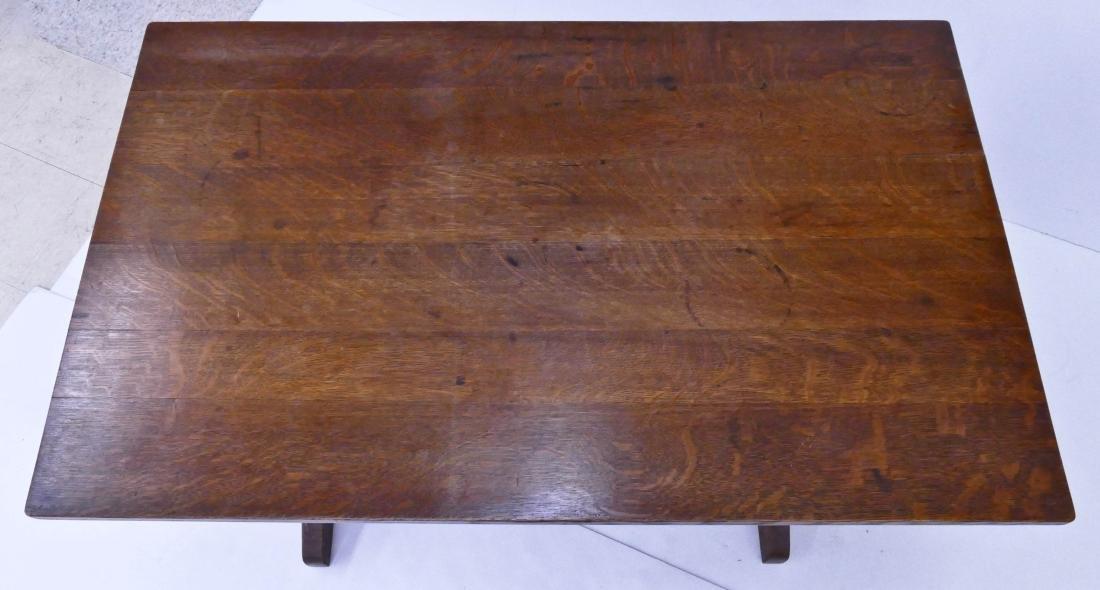Gustav Stickley Oak Trestle Table 29''x48''x29.5''. - 2