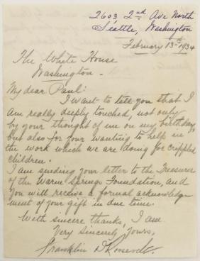 1934 Franklin D. Roosevelt Hand Written Letter