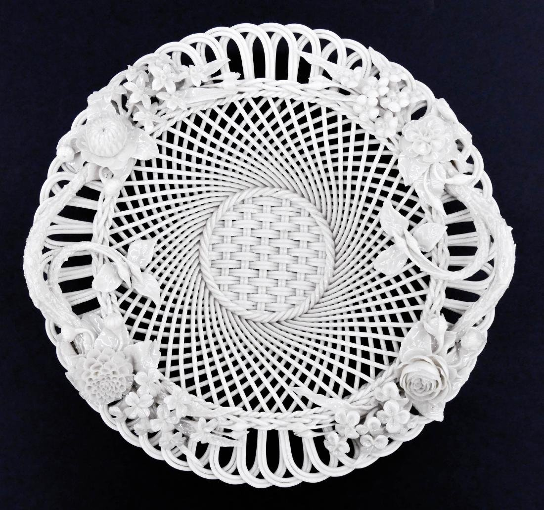 Antique Belleek Woven Porcelain Floral Basket