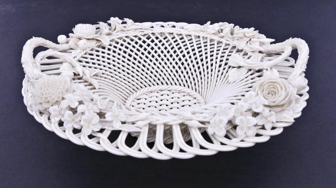 Antique Belleek Woven Porcelain Floral Basket - 2