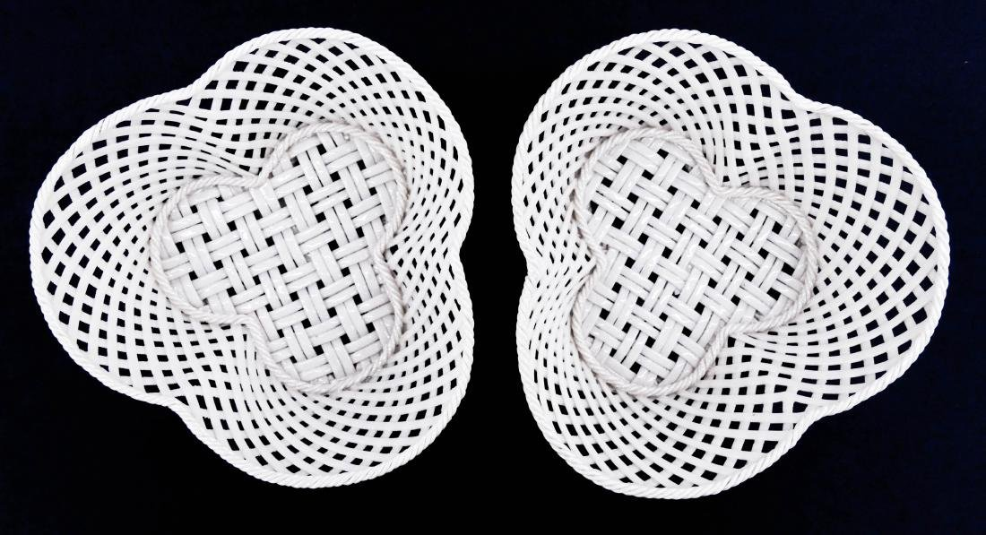Pair Early Belleek Woven Porcelain Trefoil Baskets