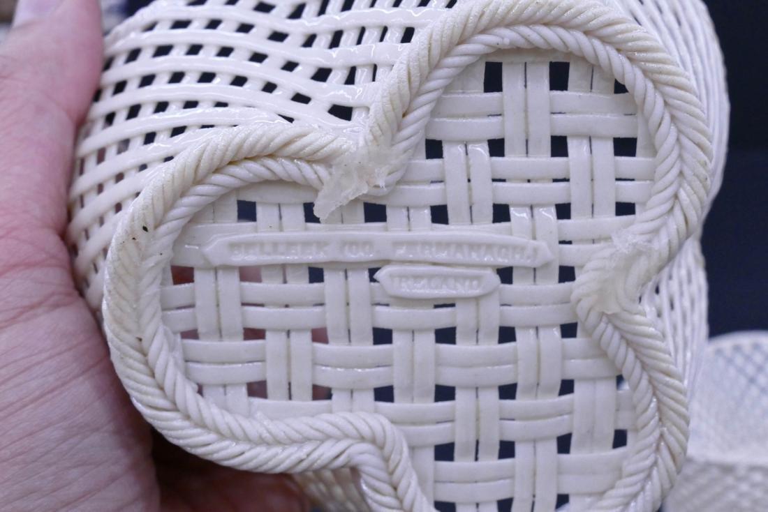 Pair Early Belleek Woven Porcelain Trefoil Baskets - 3