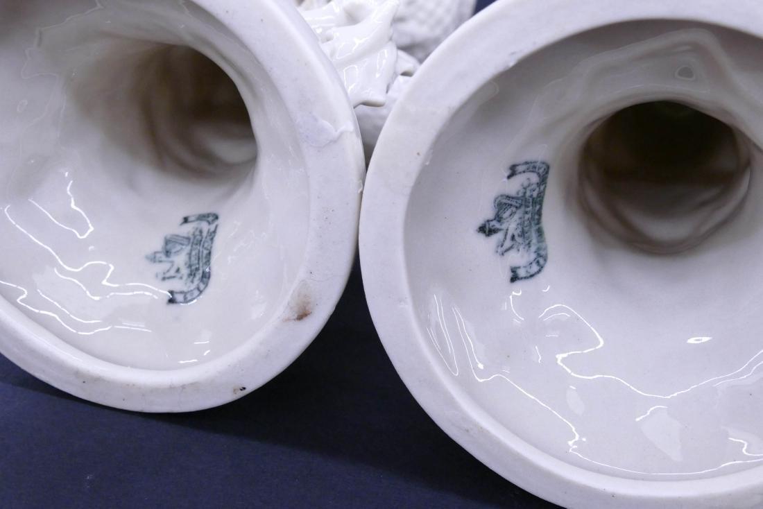 Pair Early Belleek Thistle Porcelain Vases 9''x4'' - 3