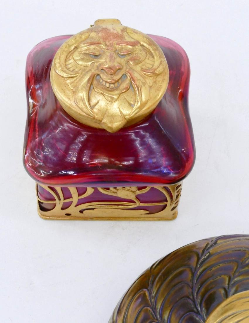 2pc Art Nouveau Bohemian Art Glass Inkwells. - 2
