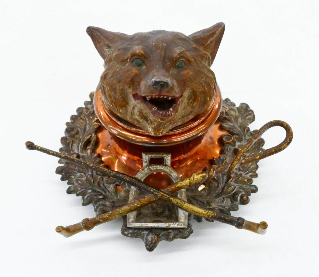 Antique Fox Hunt Cold Painted Bronze Inkwell 4''x6''.