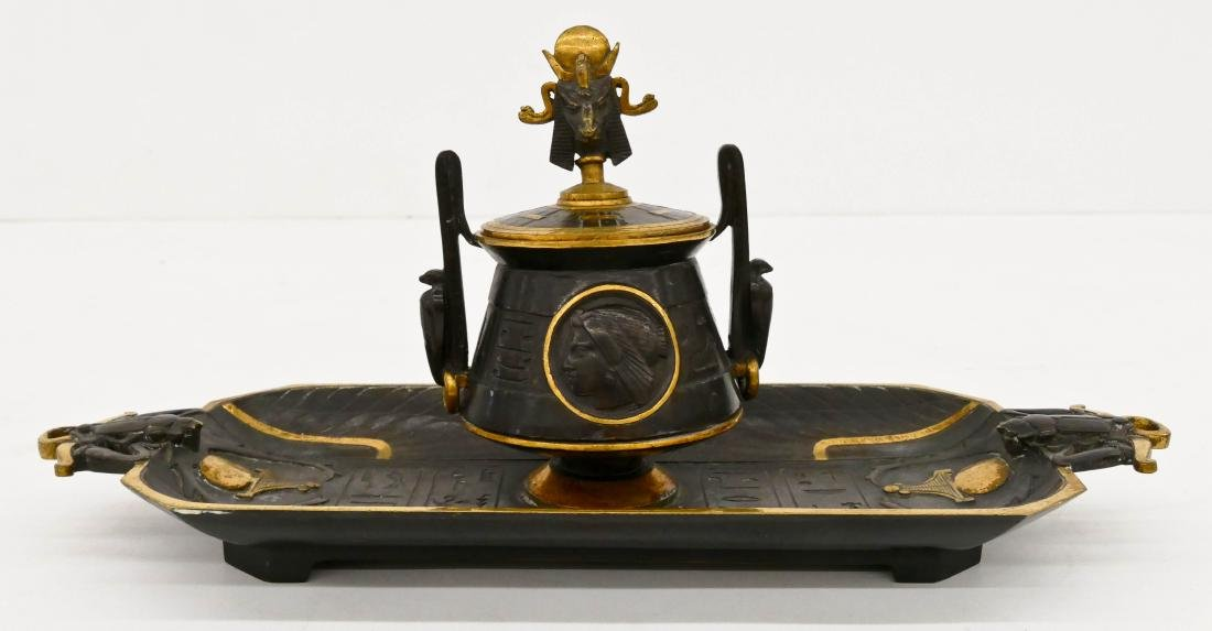 Antique Egyptian Revival Gilt Bronze Inkwell