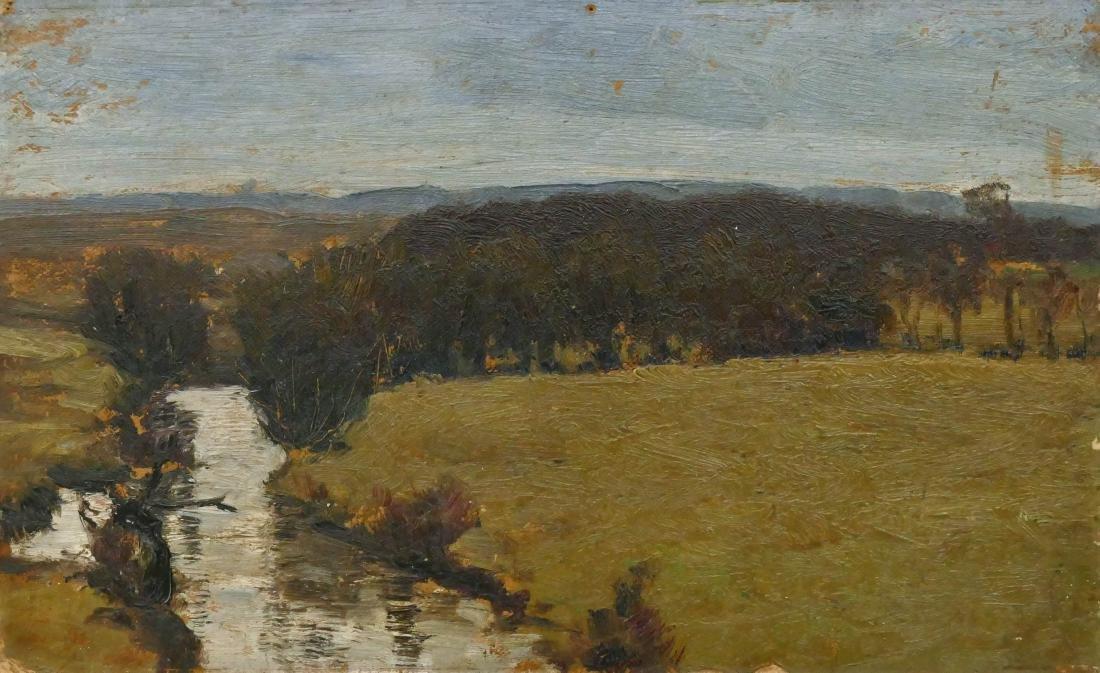 Carl Hessmert (1869-1928 German) River Scene Landscape
