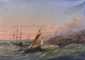 European 19th Century Maritime Oil on Canvas