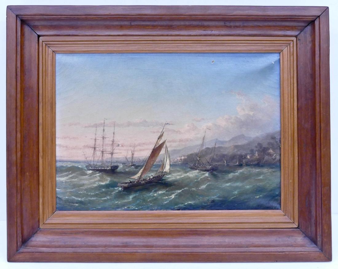 European 19th Century Maritime Oil on Canvas - 3