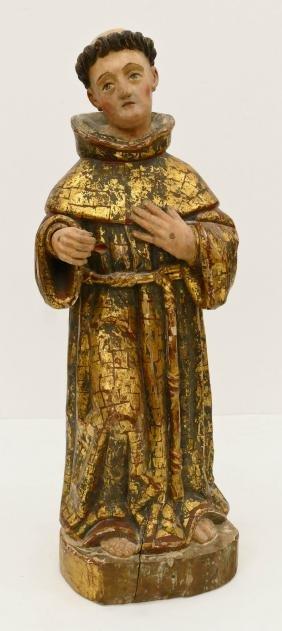 Spanish Saint Francis Gilt & Polychrome Wood Santos