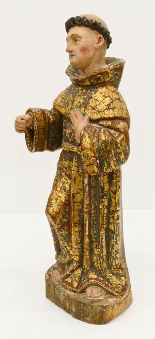 Spanish Saint Francis Gilt & Polychrome Wood Santos - 2