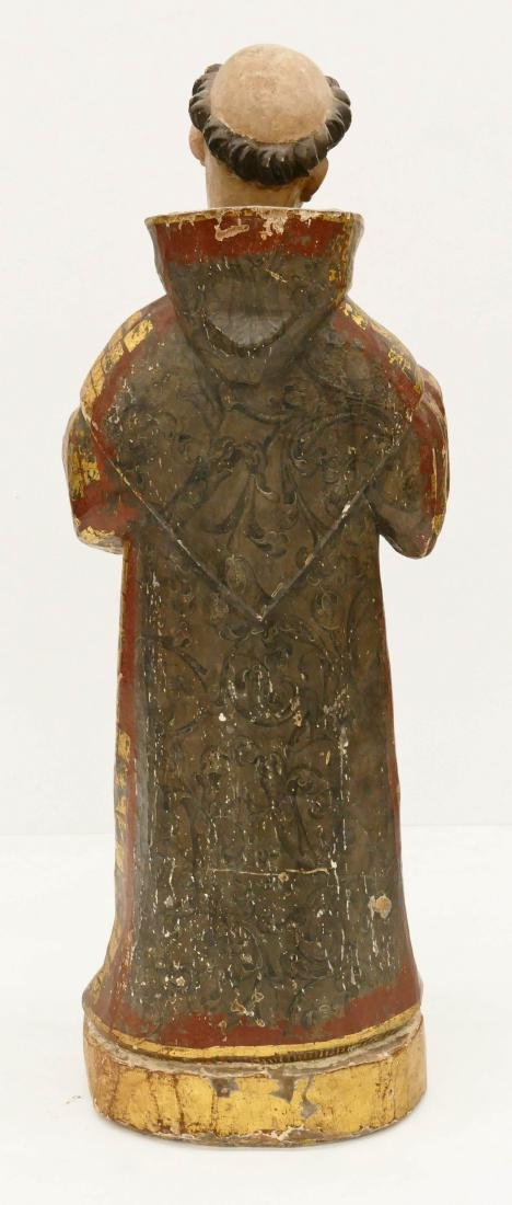 Spanish Saint Francis Gilt & Polychrome Wood Santos - 3